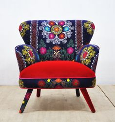 Suzani Armchair scarlet by namedesignstudio on Etsy