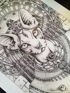 "A4 ""Bastet"" Illustration Drawing Print"