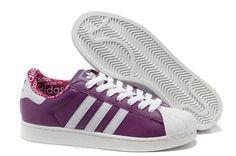 Hommes Chaussures En Cuir Adidas Superstar II Blanc Violet Adidas Superstar 2 Femme