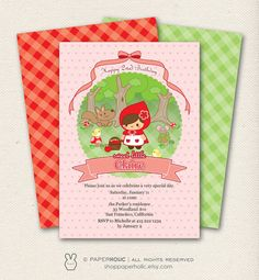 Little Red Riding Hood - Birthday Invitation - Personalized Printable Digital Download