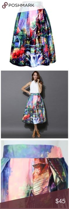 Bold Color English Garden Pleated Midi Skirt OS ‼️ PRICE FIRM UNLESS BUNDLED WITH OTHER ITEMS FROM MY CLOSET ‼️   Bold Color English Garden Skirt Size One Size  Retail $99    SPECTACULAR! Words can not describe how beautiful this skirt is. One size, waistband stretches to fit your waist. Side Zip. Half lined for the full feminine look. 100% polyester with a spandex elastic waistband in the back. Please check my store for thousands more items including designer clothing, scarves, jewelry…