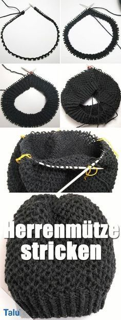 Knit men's hat with circular knitting needle - Instructions for beginners : Ins. Knit men's hat with circular knitting needle – Instructions for beginners : Instructions – K Baby Knitting Patterns, Crochet Gloves Pattern, Crochet Poncho Patterns, Hat Patterns, Crochet Stitches, Motifs Beanie, Knitted Hats, Crochet Hats, Knitting Socks