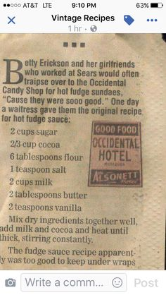 Old Fashioned Hot Fudge Sauce - Love the traditional recipes that can be found so often from newspaper clippings! Old Fashioned Hot Fudge Sauce - Love the traditional recipes that can be found so often from newspaper clippings! Old Recipes, Fudge Recipes, Vintage Recipes, Candy Recipes, Sauce Recipes, Sweet Recipes, Recipies, Sauce Dips, Retro Recipes