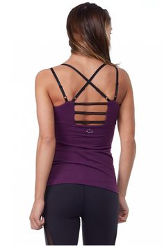 A touch of mesh on triple lattice straps disguises moisture control as a sexy addition on this Beyond Yoga Cami.