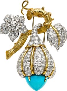 {Turquoise, Diamond, Gold Clip-Brooch}