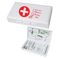 Large first aid box. Kit includes assortment of bandages, bandage fasteners, ear swabs, alcohol swabs, roll of cotton, roll of tape, scissors, tweezers and two pill holders. Bandages are latex free.