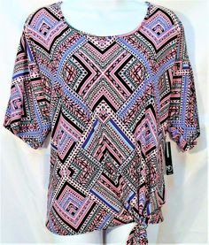 ad56ff64a4033 NEW DIRECTIONS WOMENS PLUS SIZE 1X 3X ROUND NECK SHORT SLEEVE TRIBAL TOP  SHIRT #NewDirections #SideTie #CasualCareer