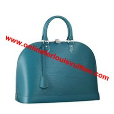 "LOUIS VUITTON ALMA PM EPI LEATHER M40624 CYAN -Leather key tag -Double zip with padlock closure -Wide opening for easy access -Interior patch and phone pockets -Soft Microfibre lining -Protective bottom studs Size: 12.8"" x 9.4"" x 6"""