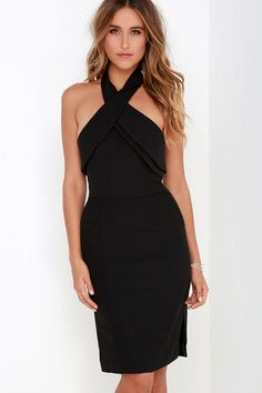Finders Keepers Wrong Direction Black Halter Dress at Lulus.com!