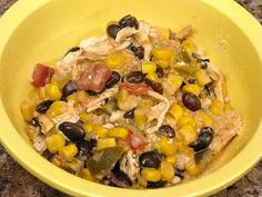 This is a regular in the rotation around here. 2-3 chicken breasts, 1 jar salsa ,1 can black beans, 1 can corn, drained (I use 1 lb frozen), 8 oz. cream cheese. *Put first four ingredients in crockpot on low (or high if chicken frozen) for 4-6 hours and then add cream cheese about an hour before serving. Mix well, shred up chicken and serve with rice or as a burrito filling.