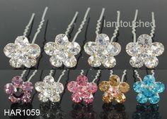 6pcs 12pcs Diamante Crystal Wedding Prom Party Bridal Flower Hair Pin Clip | eBay
