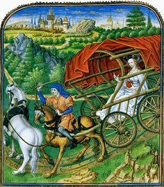 A charioteer brings his queen to the castle of her husband. Thumbnail attributed to Jan Tavernier in René d' Anjou, Le Mortifiement the Vaine Plaisance, after 1455. Made in the workshop of Jean Miélot in Lille, the MS was commissioned by Isabella of Portugal, wife of Philip the Good. Brussels, Koninklijke Bibliotheek van België, MS 10308, fol. 43