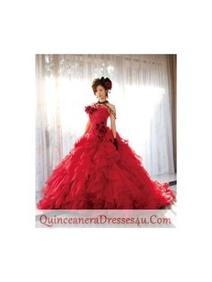 Discount 2012 Luxurious Red Organza Ball gown Strapless Floor-length Quinceanera Dresses Style CP221