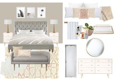Tranquil & feminine bedroom concept for a new client! She wants her bedroom to be cozy and relaxing; neutral with a few pops color. This concept features modern, glam furniture with pops of blush in the art and textiles. E-Design Online Interior Design Services, Feminine Bedroom, Blush And Gold, E Design, Color Pop, Neutral, Textiles, Cozy, Concept