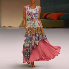 General Red Vacation Dresses Polyester Casual Round Neckline Spring Maxi Summer A-line Dress Floral Sleeveless S M L XL XXL Dress Summer Dresses Sale, Spring Dresses, Dress Outfits, Casual Dresses, Fashion Dresses, Women's Fashion, Dress Clothes, Fashion Online, Latest Fashion