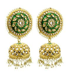 Pair of beautiful hand crafted Kundan stone jhumki earrings. Gold base filled with Kundan stones, green painted detailing and dangling pearl work. Drop: 7 cm approx (lightweight) Also available in different colours. Jhumki Earrings, Dangle Earrings, Crochet Earrings, Antic Jewellery, Jewelry, Beautiful Hands, Green And Gold, Different Colors, Dangles