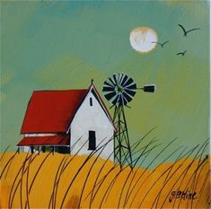 Artwork of Glendine exhibited at Robertson Art Gallery. Original art of more than 60 top South African Artists - Since Windmill Art, Farm Paintings, Farm Art, Bird Artwork, Africa Art, Autumn Painting, Naive Art, Windmills, Watercolor Art