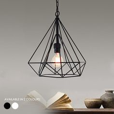 Study: Geometric Diamond Cage Modern Minimalist Pendant Light