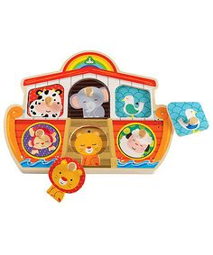 place the animals in the ark to hear them roar, moo and more!