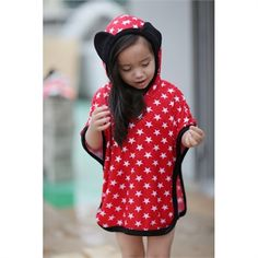 Your child will love this red/ navy contrast colour with white little star print and cute mouse ears on hood!