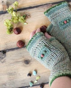 Olives. Fingerless gloves knitted wool. Mitts olive