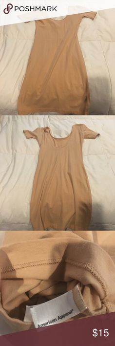 American Apparel Nude dress This dress goes well under something lace, which is how I've worn it, or dresses up however you like! It's got a low back and is cotton and comfortable American Apparel Dresses Mini