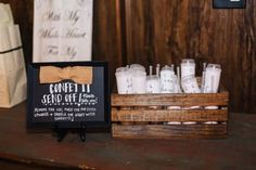 Chalk sign and DIY confetti poppers for our wedding  photo taken by Buck Deitz Photography http://www.buckdeitzphotography.com/