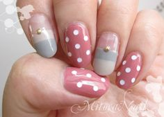 Dusty pink, gray and nude cute nail design.