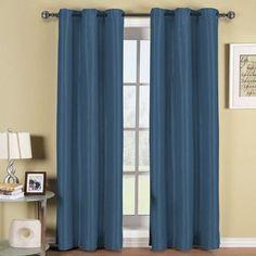 ELEGANT COMFORT Blackout Curtain Panels Color: Navy