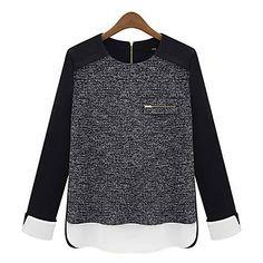 la mode casual splciing mousseline blouse de qianyun femmes - EUR € 15.45