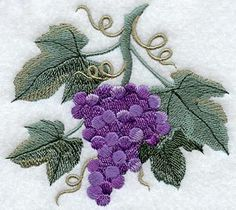 Embroidered Purple Grapes on Tea Towel.  Lovelies for your home.