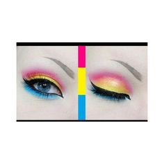 Pansexual Pride Makeup Tutorial ❤ liked on Polyvore featuring beauty products, makeup, eye makeup and eye pencil makeup