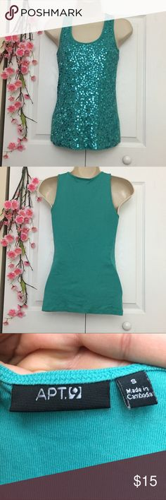 Aqua Mermaid Sleeveless Blouse Excellent condition. Not missing any sequins. No marks, tears or stains. It reminds me of a mermaid 😊 Apt. 9 Tops Blouses