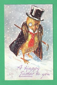 1909 TUCK R. CLARK EASTER ART POSTCARD DAPPER CHICK TOP HAT MONOCLE CANE SNOW