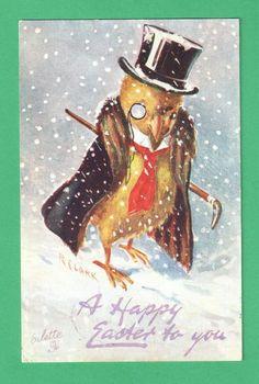1909 TUCK R. CLARK EASTER ART POSTCARD DAPPER CHICK TOP HAT MONOCLE CANE SNOW