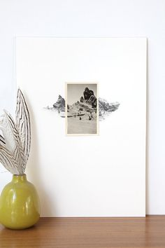 drawing with vintage photo