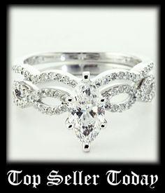 Infinity Set || Marquise Shaped Diamond Wedding Set With White Diamond In 14K White Gold