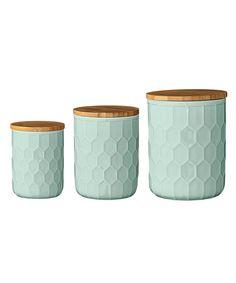Mint Ceramic Jars w  Bamboo Lids - Set of 3 Mentaszín 3dcf38fd7bf55