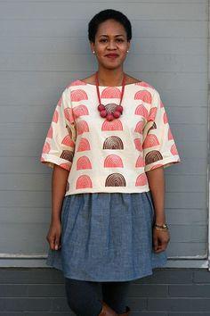 Print, Pattern, Sew: January 2015 by Jen Hewett. Block printed fabric by the artist, garment pattern by Sonya Philip.