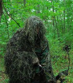 Synthetic Ultra-Light Ghillie Bow Hunting Jacket Left Hand Woodland Medium