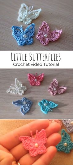 crochet flowers We can crochet so we can decorate our space and everyday life. We have free video tutorial where you can learn how to crochet little and cute butterflies and use them a Crochet Butterfly Free Pattern, Crochet Whale, Beau Crochet, Crochet Applique Patterns Free, Crochet Mignon, Crochet Motifs, Thread Crochet, Crochet Crafts, Crochet Appliques