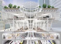 one of the proposed designs for san francisco's new transit center that will house both bart, muni and the new high speed rails going from the bay to san diego. this structure will be build mostly underground with hopping and retail space and park on the street lever with bus connections and safe bike storage lockers.