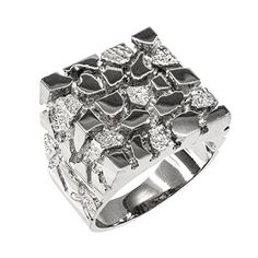 Mens 925 Sterling Silver Four Corner Square Top Nugget Ring Size 8 * Check out this great product.