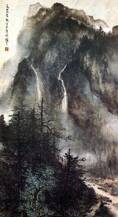 黎雄才-岭南画派的绘画艺术,The Art of Lingnan School Asian Landscape, Chinese Landscape Painting, Landscape Drawings, Chinese Painting, Watercolor Landscape, Landscape Paintings, Landscapes, Japan Painting, Ink Painting