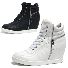 Womens Zipper Wedge Sneakers High Tops Trainers / black or white | Clothing, Shoes & Accessories, Women's Shoes, Athletic | eBay!