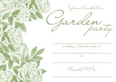 The Cottage Gray: freebie friday: garden party invitations - garden party invitations