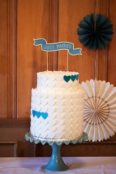 Sweet and simple ~ heart wedding cake