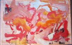 "Willem de Kooning    Untitled - oil paint on newsprint, New York Times, 1973 14.5""x22.5"""