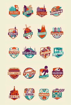 A Collection Of Illustrated Logos For Cities You Should Visit Before You Die