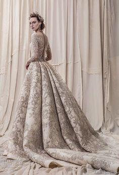 krikor jabotian spring 2018 bridal long sleeves scoop neck full embellishment glamorous princess ball gown a  line wedding dress sheer button back royal train (04) bv -- Krikor Jabotian Spring 2018 Wedding Dresses
